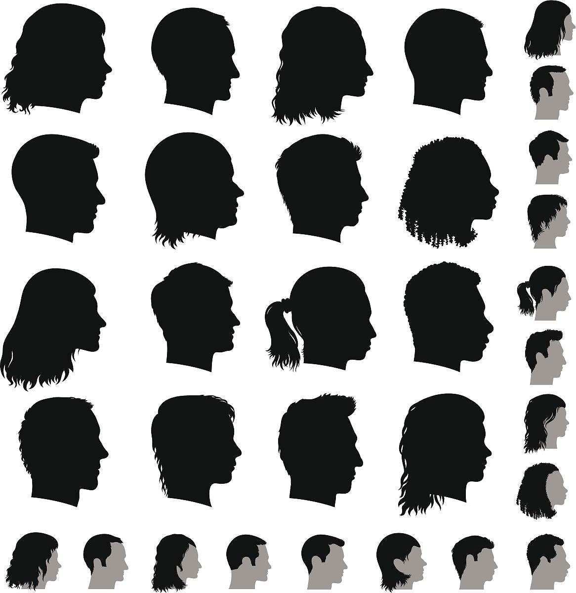 自定义人脸图标黑白矢量图标集图片