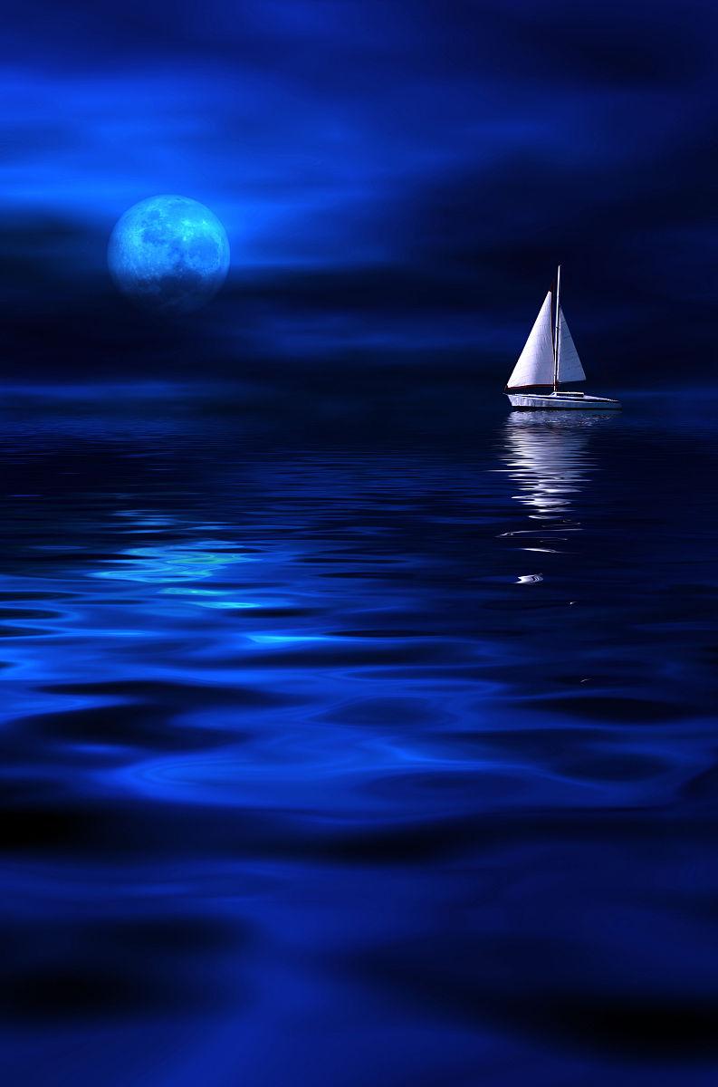 蓝色月光侦探礹.+y��_蓝色,船,光,月亮,月光,夜晚,海洋,浪漫,船,游艇,云,天空,摄影,垂直
