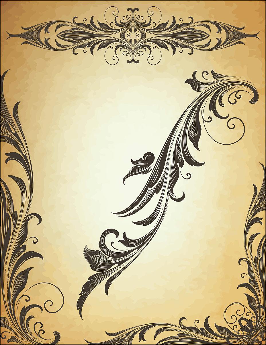 经典的黑色阿拉伯花饰图片