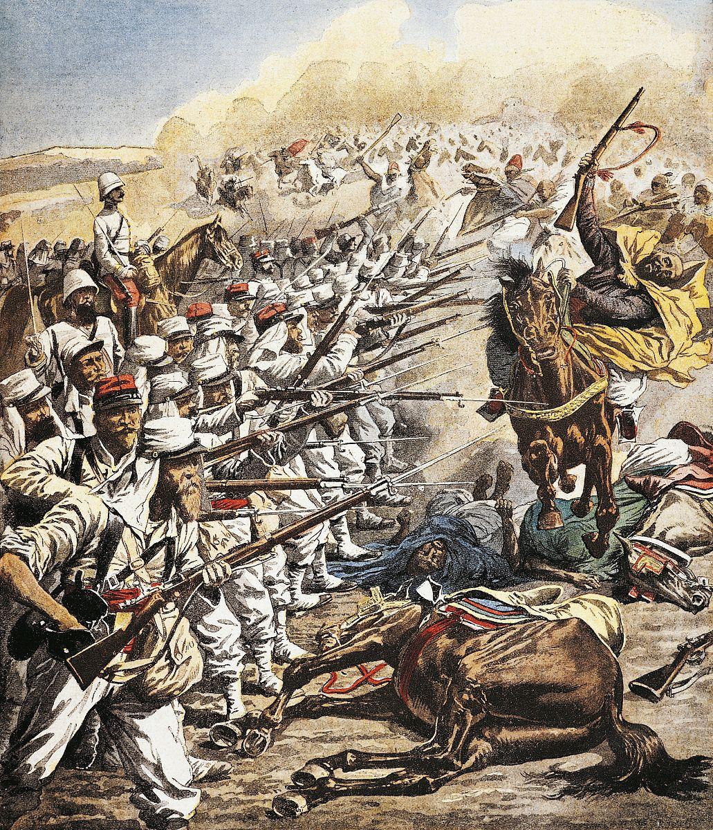 法国将军的部队击退利奥摩洛哥突击,十月1907,雕刻从小报,殖民战争图片