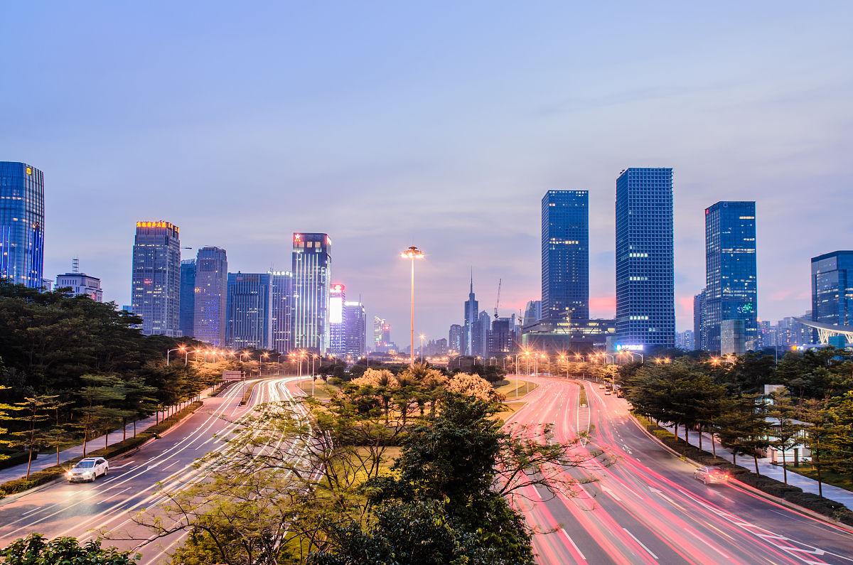 高视角亚洲广东省深圳天空现代办公大楼摩天大楼住房房屋