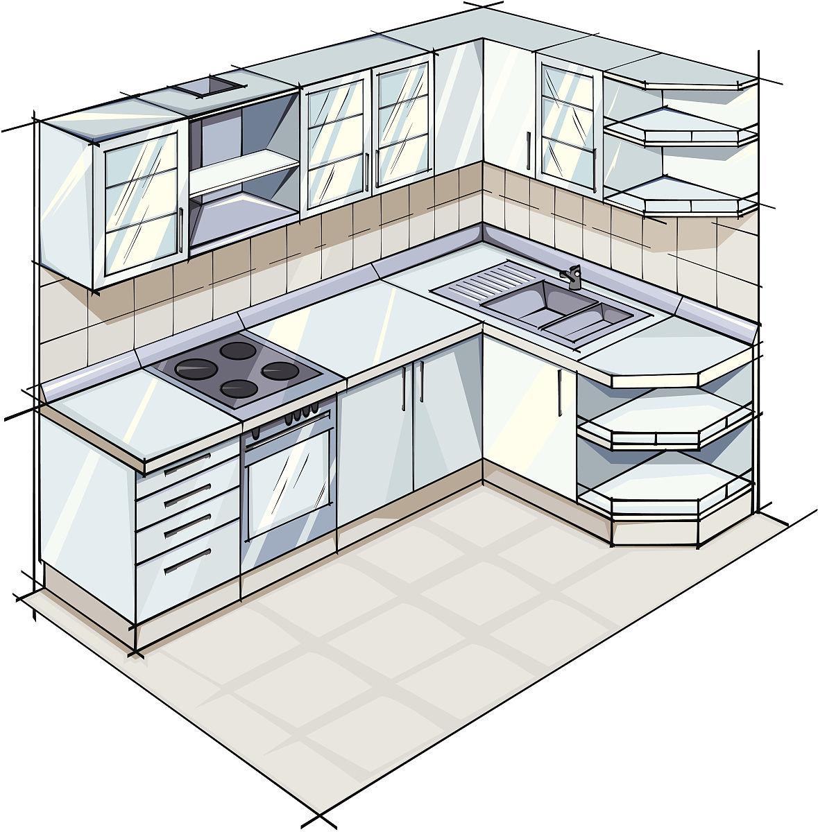 草图,灶台,主观视角,组物体,无人,透视图,整体情况,厨房水槽,高柜图片