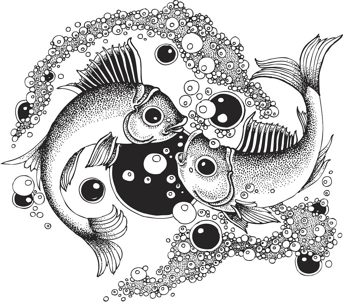 动物,饮用水,咸水鱼,无人,黑白图片,矢量,水,古典风格,暗角,式样,绘画图片