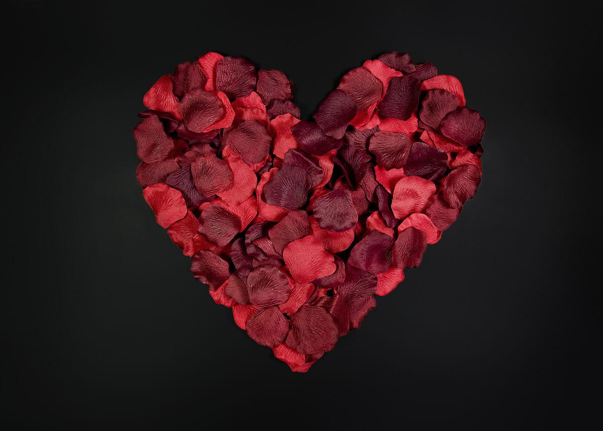 黑色背景的心形玫瑰花瓣图片