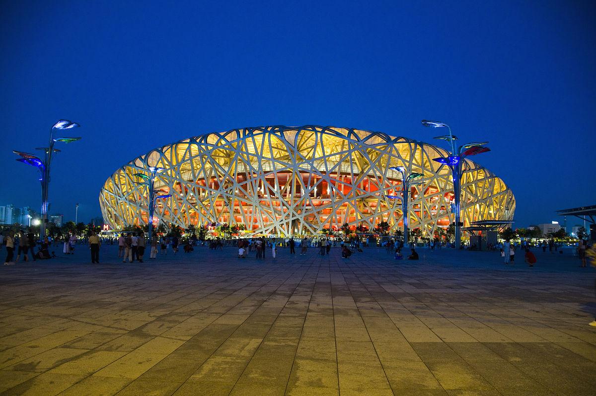 北京乹a`�ad�n�_北京鸟巢体育场夜景