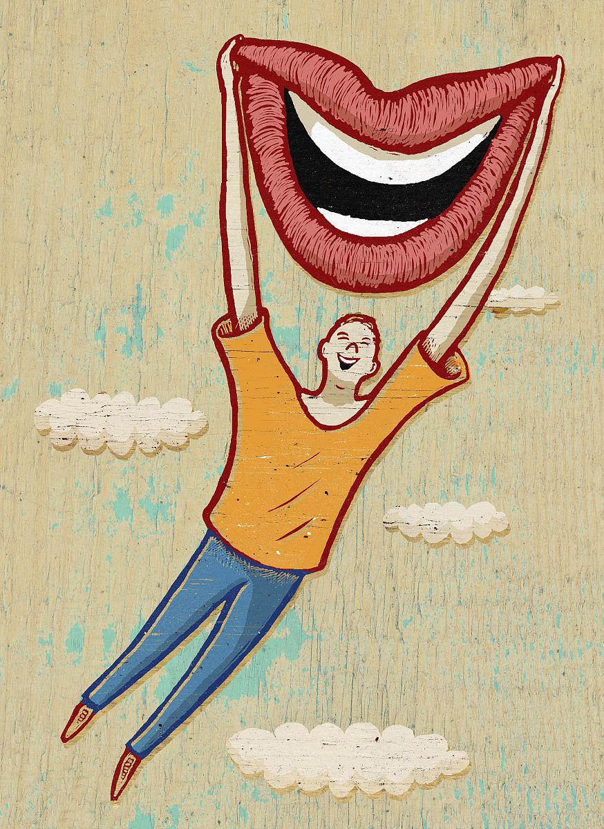 全身像,户外,人的嘴,嘴唇,人的牙齿,正面视角,表现积极,白人,飞,微笑图片