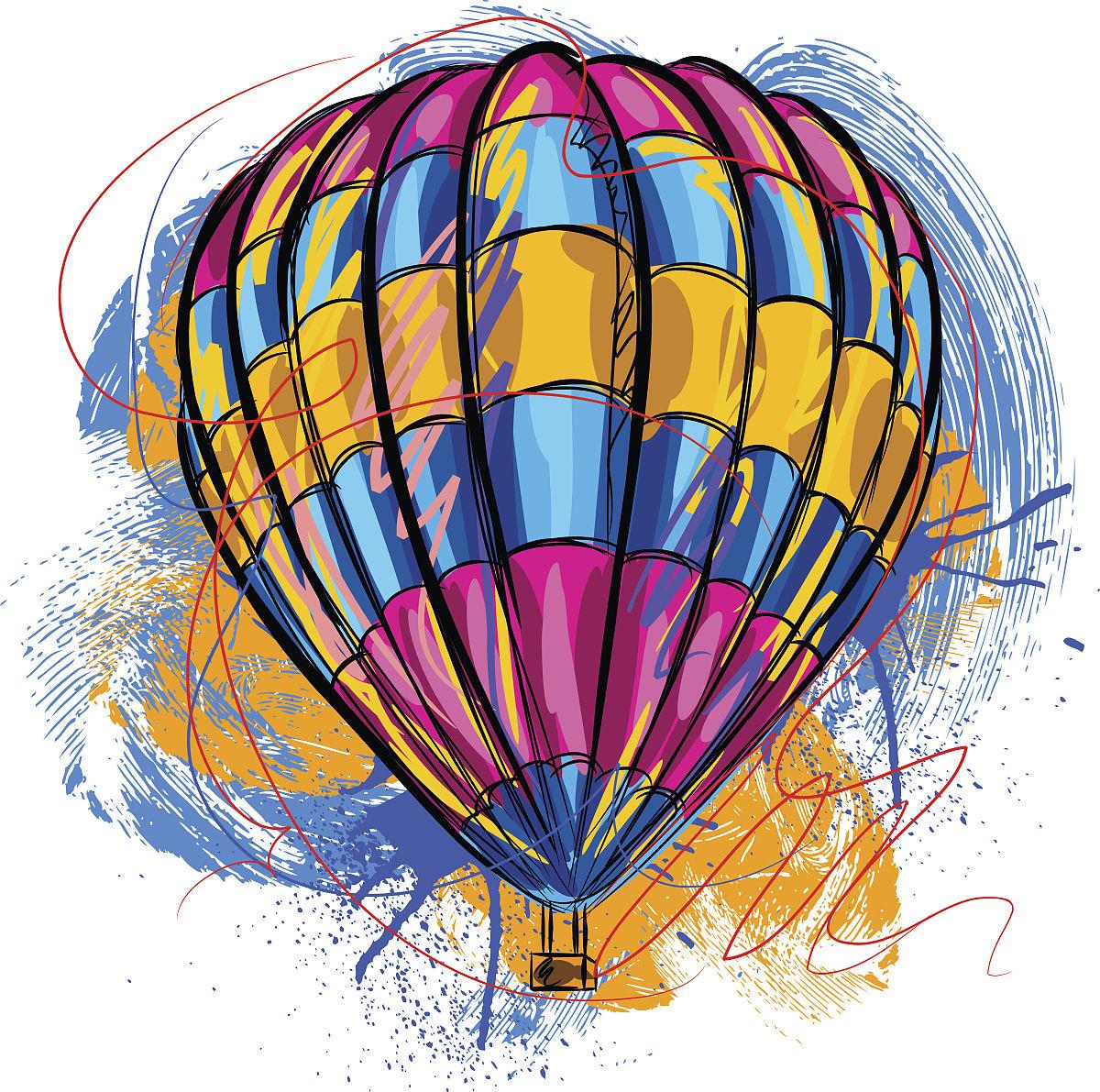 飞船,篮子,美术工艺,部落艺术,图片褪色处理,热气球,背景,美术效果图片