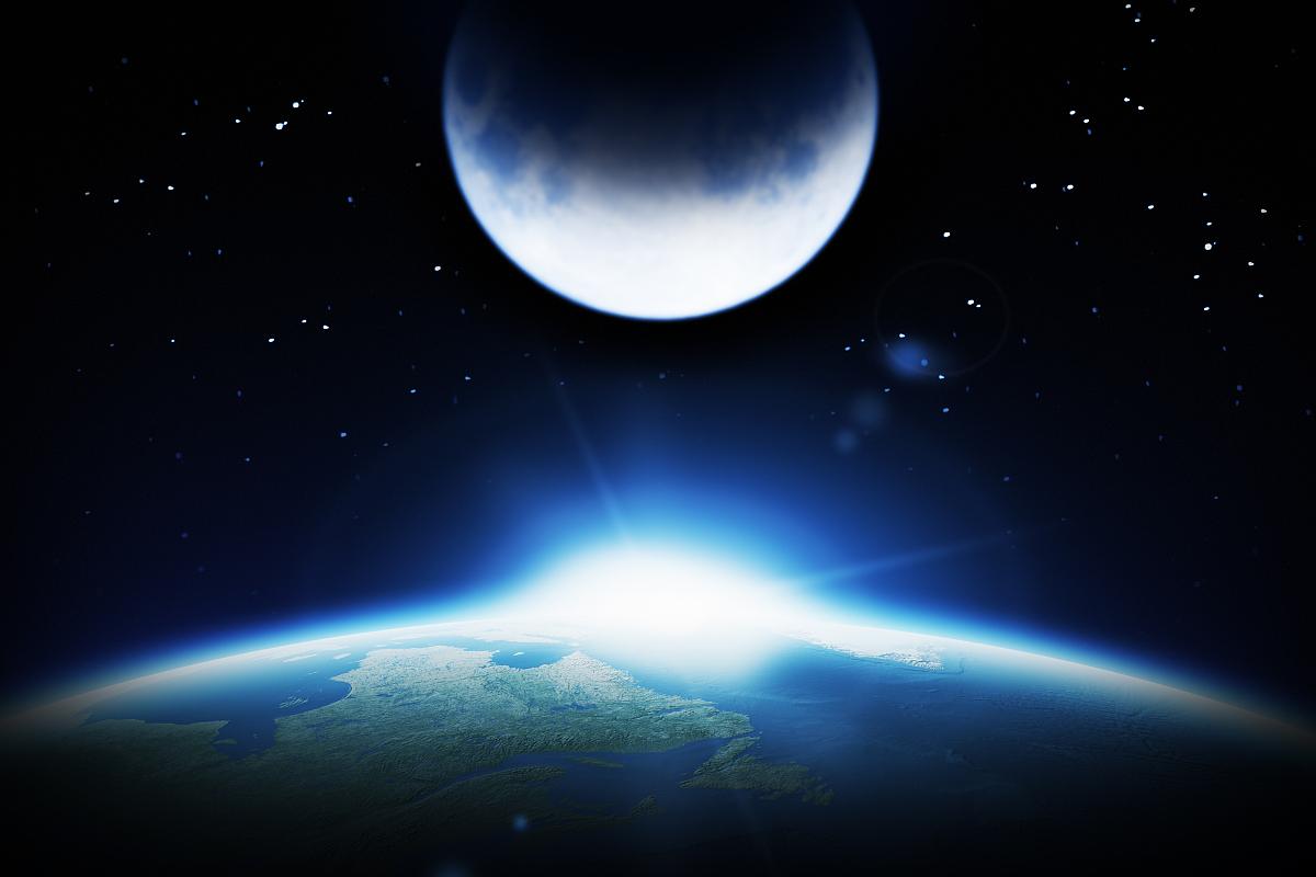 散焦,计算机制图,上升,黑色,蓝色,天空,太空,光,月亮,云,行星,星星,地图片