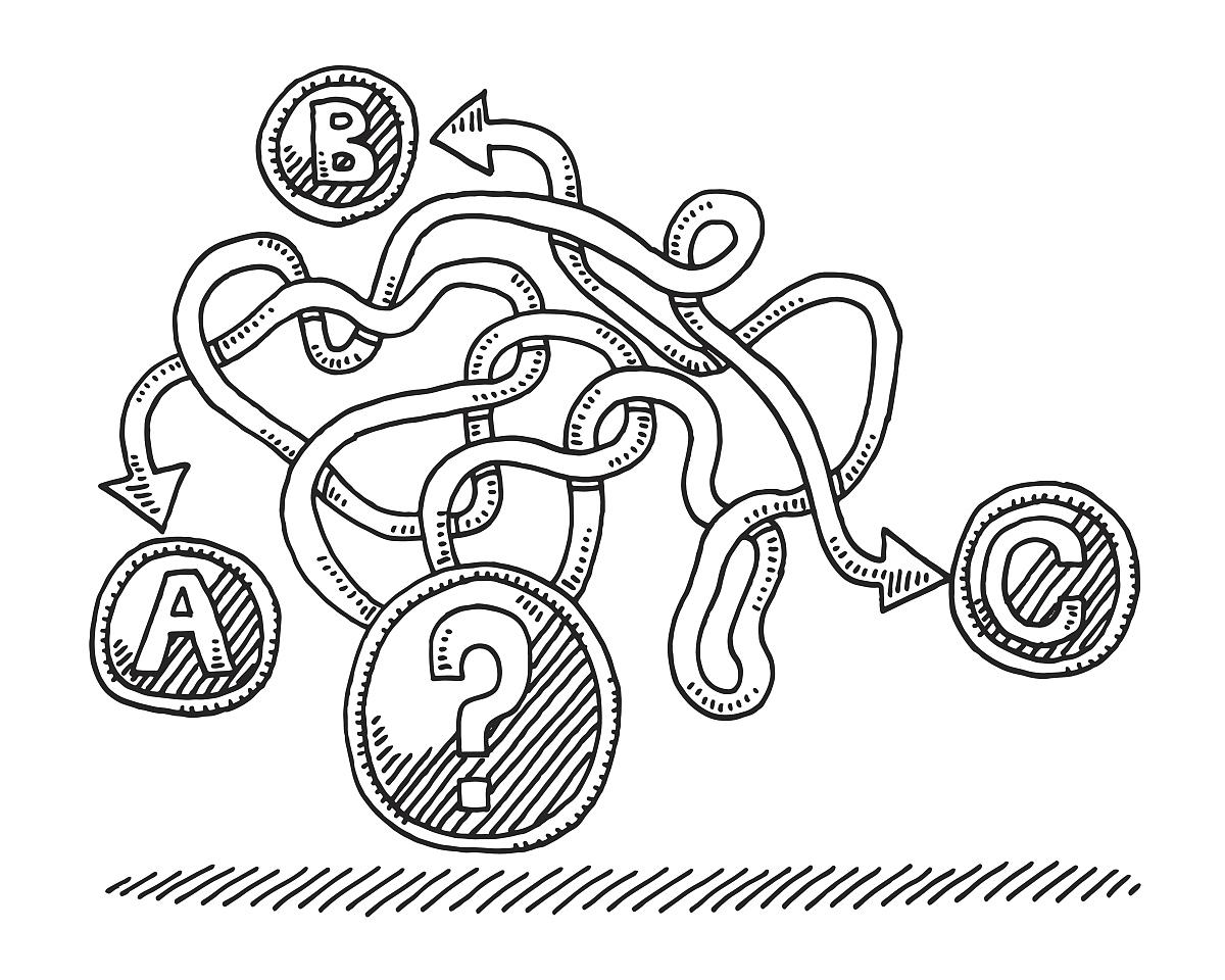 决策问号选择概念图图片