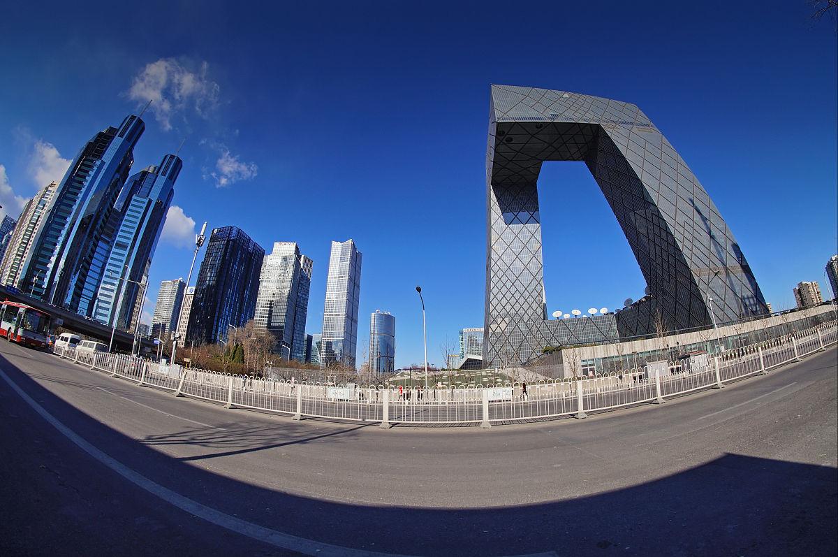 北京市���k�llyc.�`���%_中国中央电视台,建筑外部,北京,首都,万里无云,北京市,摩天大楼,仅
