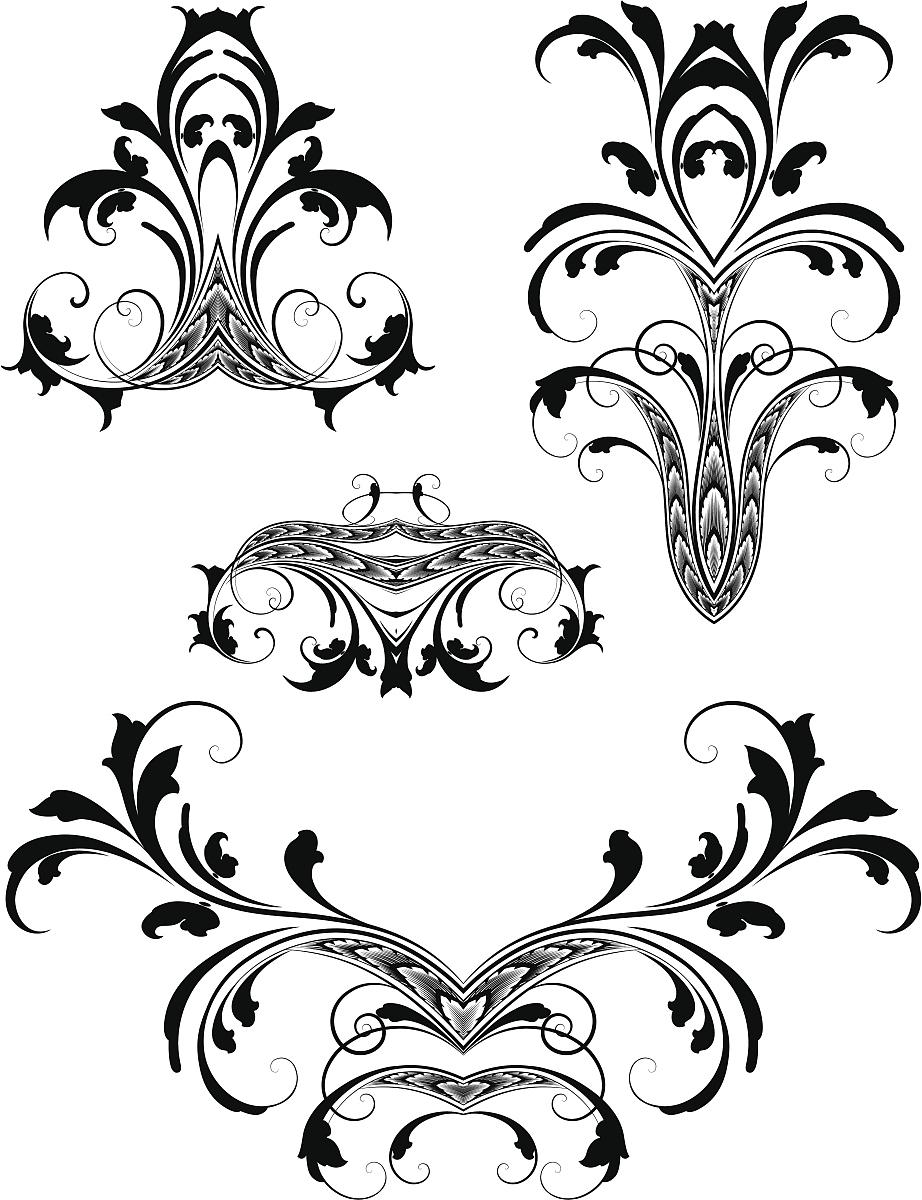 古董,花纹,无人,矢量,阿拉伯风格,装饰镜板,花形图案装饰,花体,漩涡形图片
