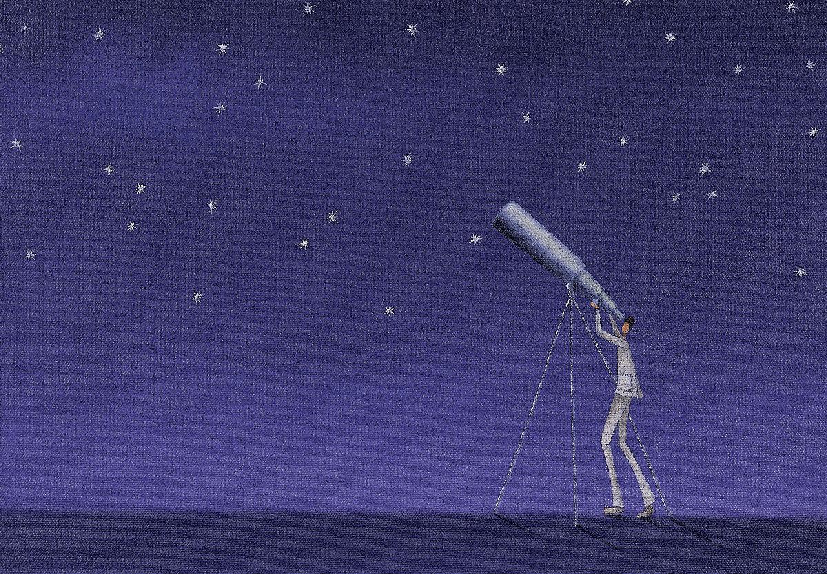 用望远镜仰望星空的人图片