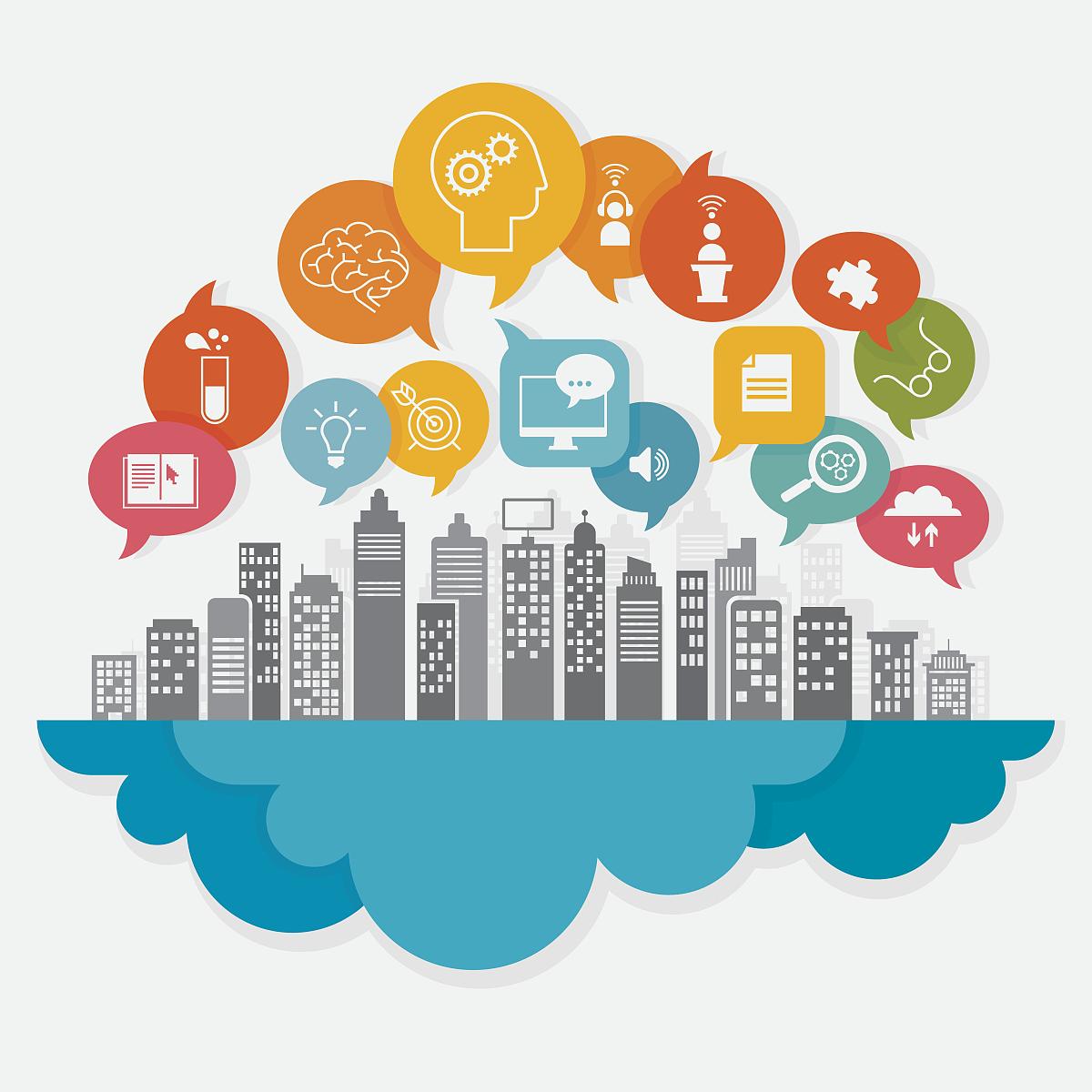 放大镜指导教师讲师教师互联网多色的对话气泡框智慧电灯泡