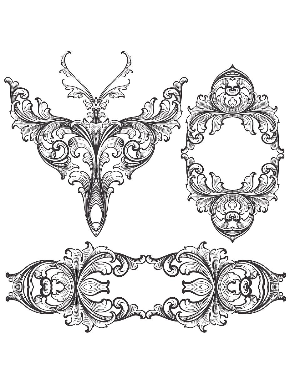 雕刻图像,古董,无人,矢量,阿拉伯风格,装饰镜板,花形图案装饰,花体,漩图片