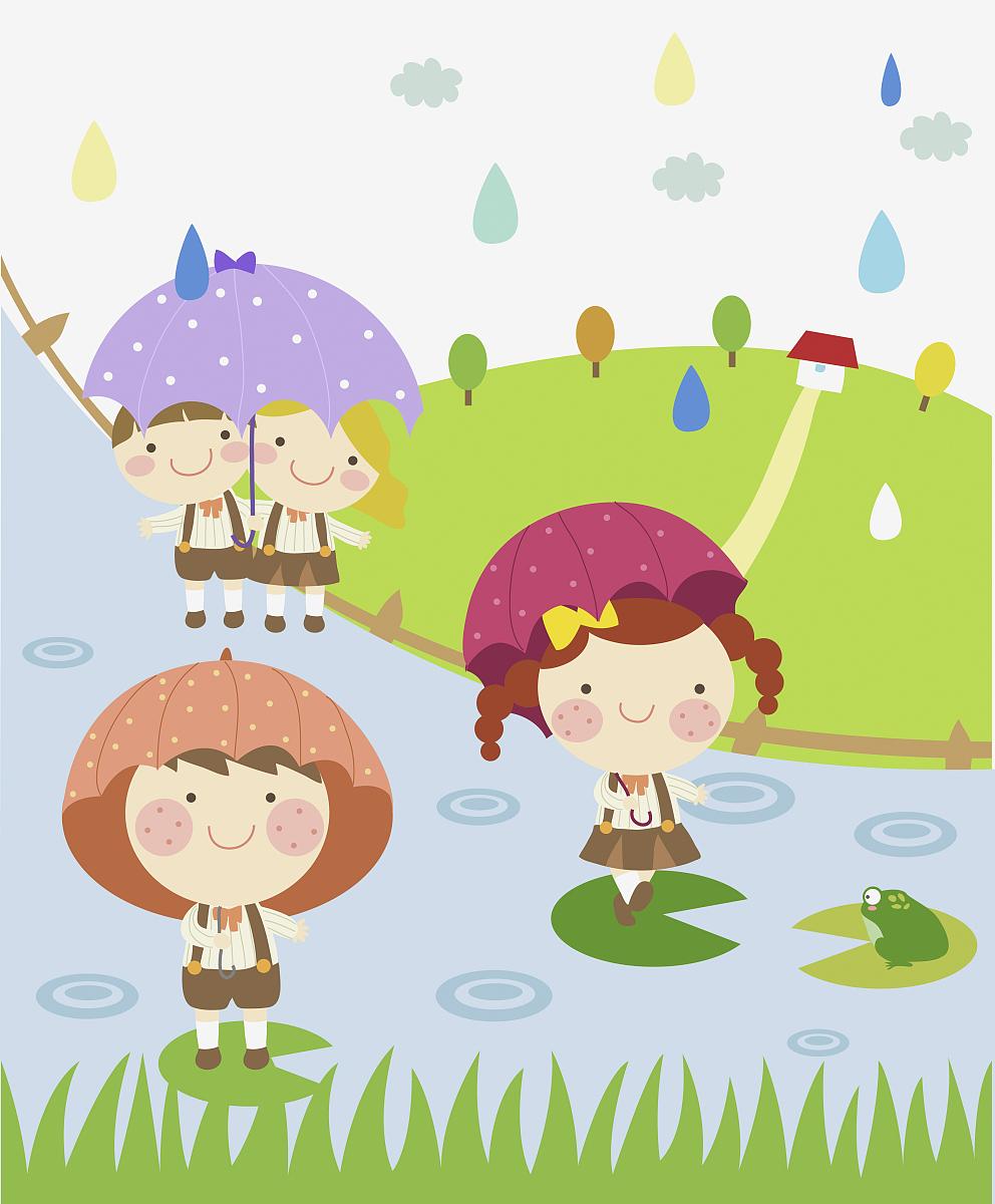 雨天儿童插图图片