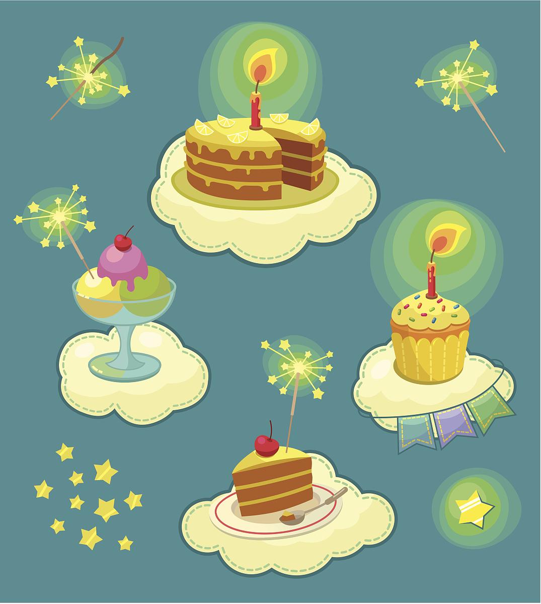 色彩鮮豔,甜點心,甜食,糖衣,卡通,繪畫插圖,禮物,樂趣,動畫片,生日