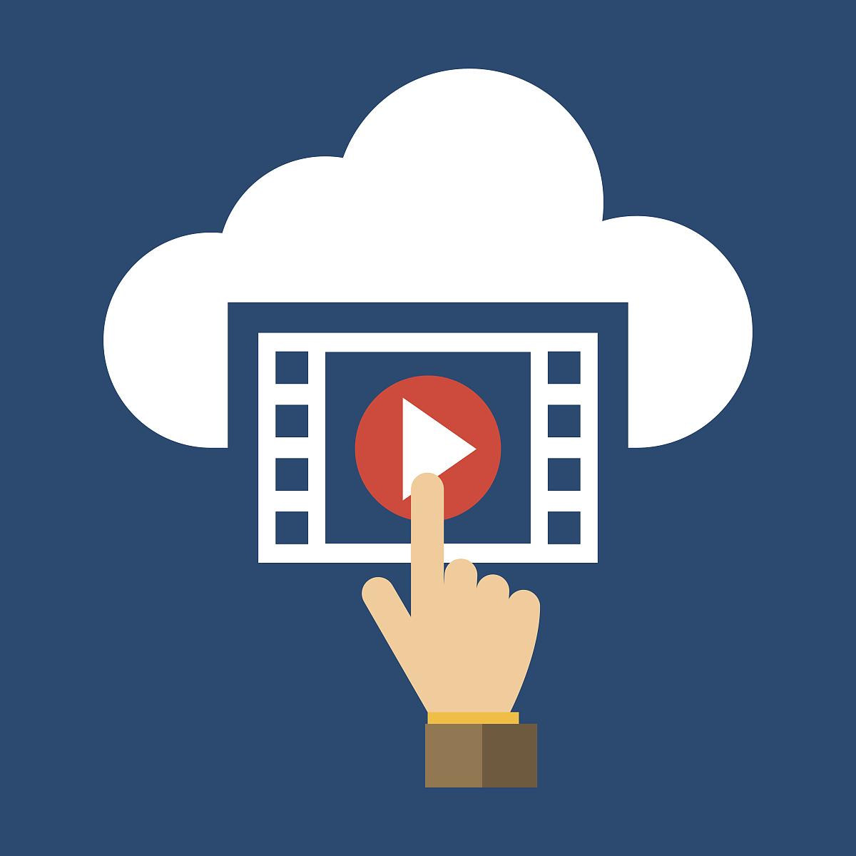 视频_视频,手和云平面设计图标-矢量