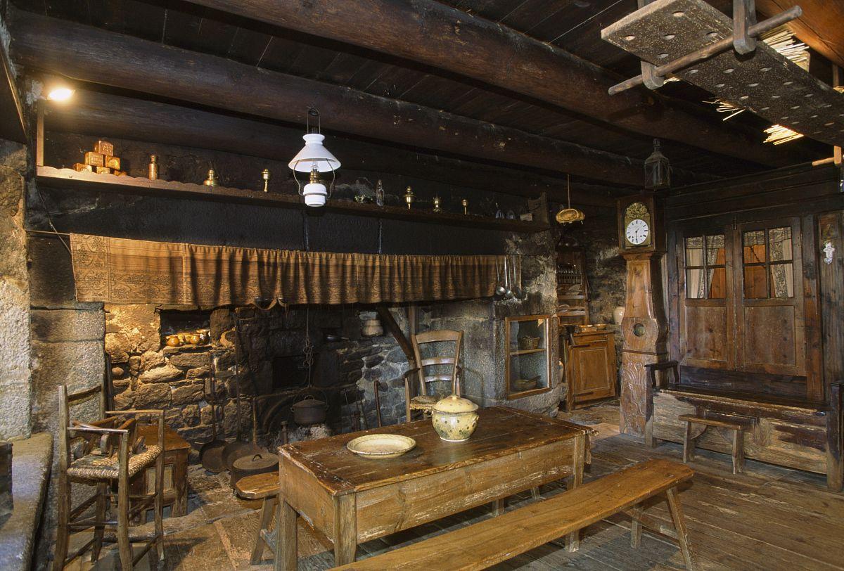 馆_厨房的壁炉,农场的pierre allegre,在第十九世纪的农村生活馆,吕讷