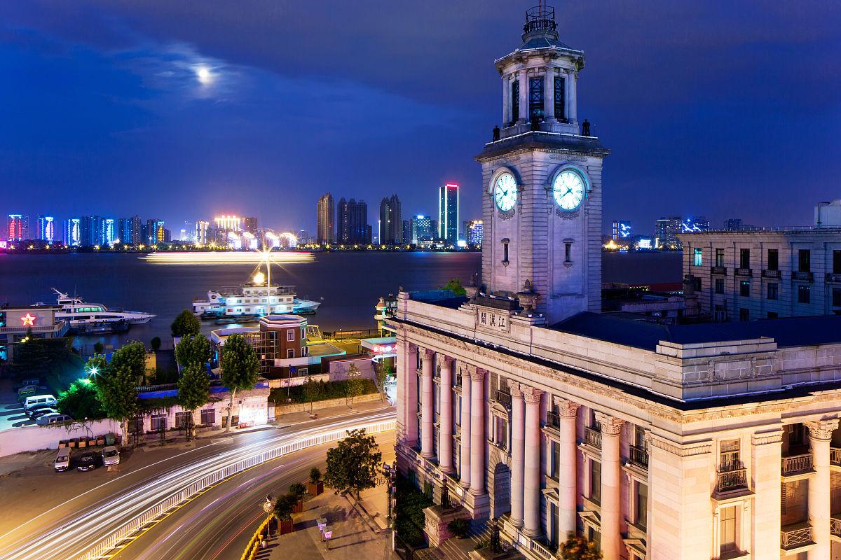 武汉,汉口,建筑,欧洲文化,古典风格,夜晚,摄影,水平画幅,彩色图片图片