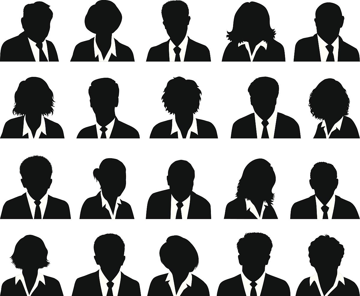 定制业务人物剪影人脸黑色和白色图标图片