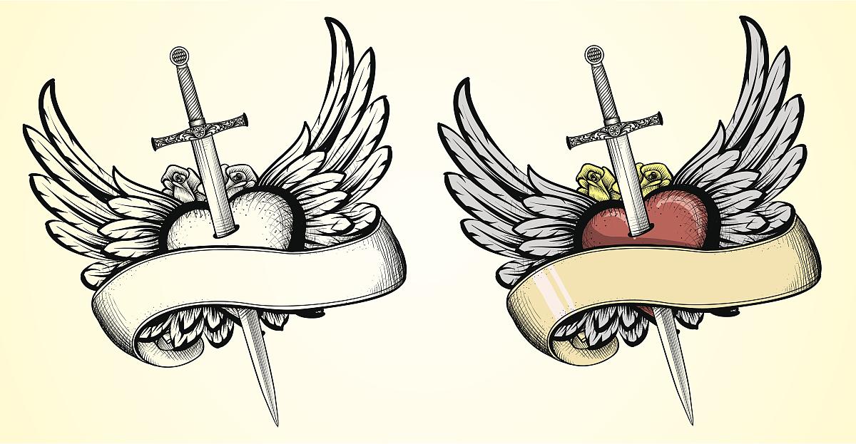 飞翔的心与剑纹身图片