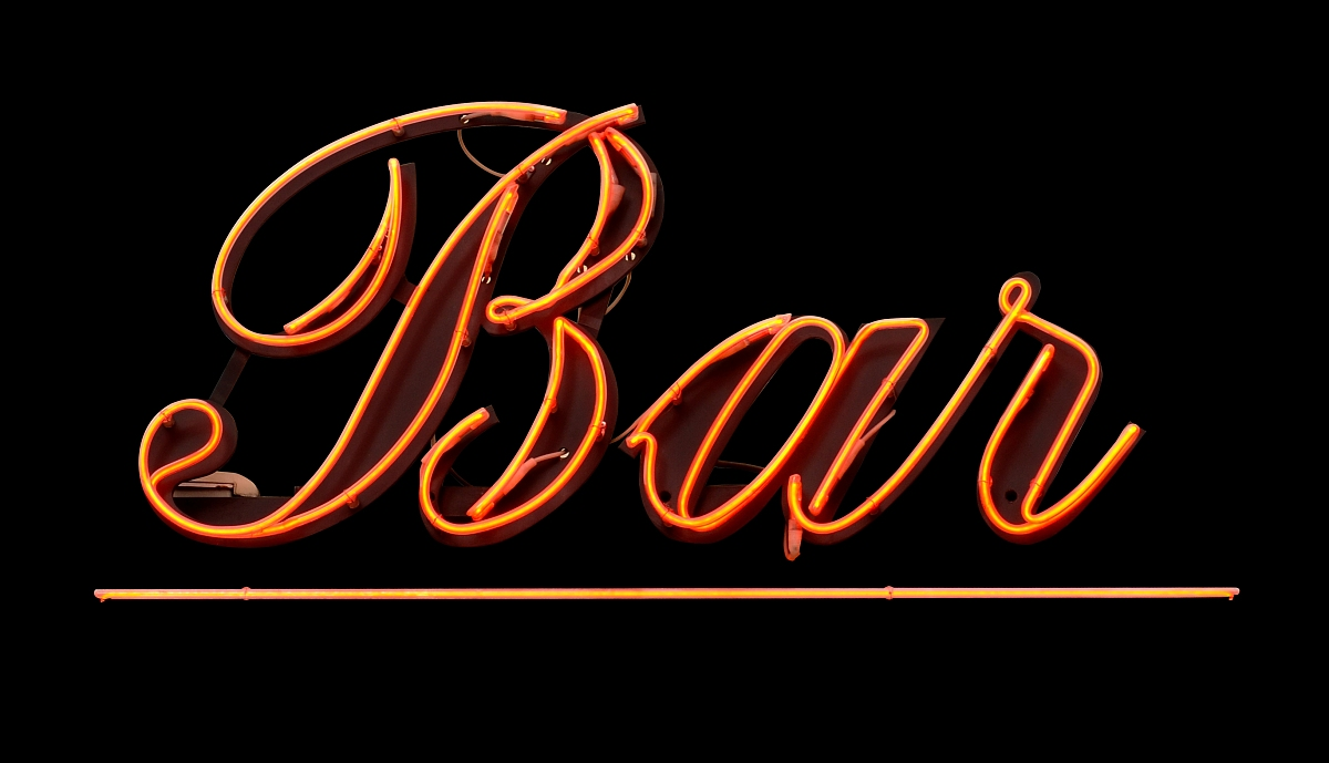 光古老的发光霓虹灯设计分离着色酒吧黑色夜生活聚会娱乐
