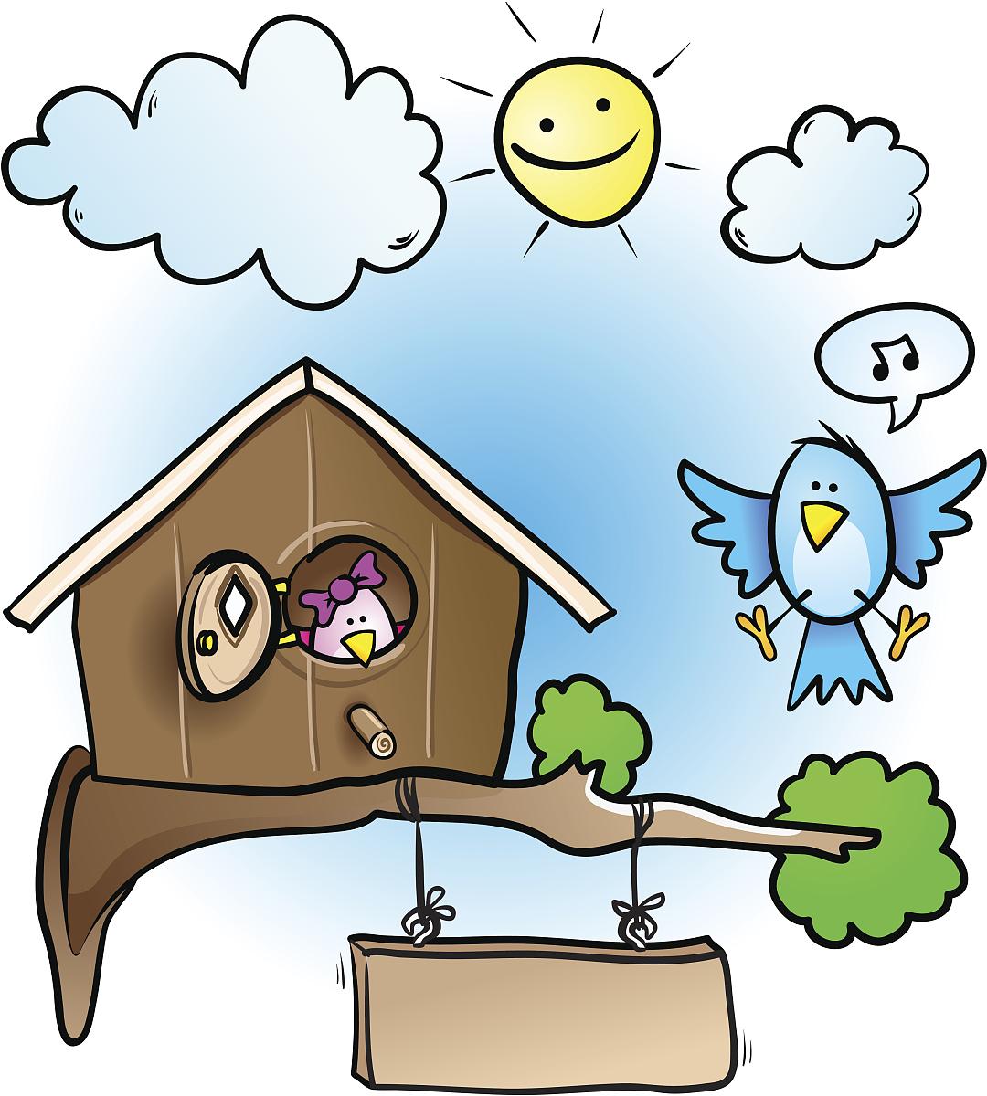 童画画鸟_唱,鸟类,蓝色,树,枝,云,泡泡,音符,可爱的,小鸟笼,全球通讯,儿童画
