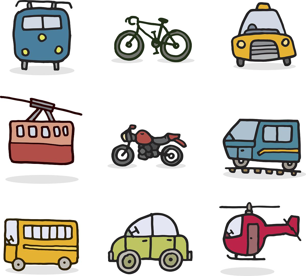 摩托车,阴影,计算机图标,交通,校车,背景分离,可爱的,彩色图片,铅笔画图片