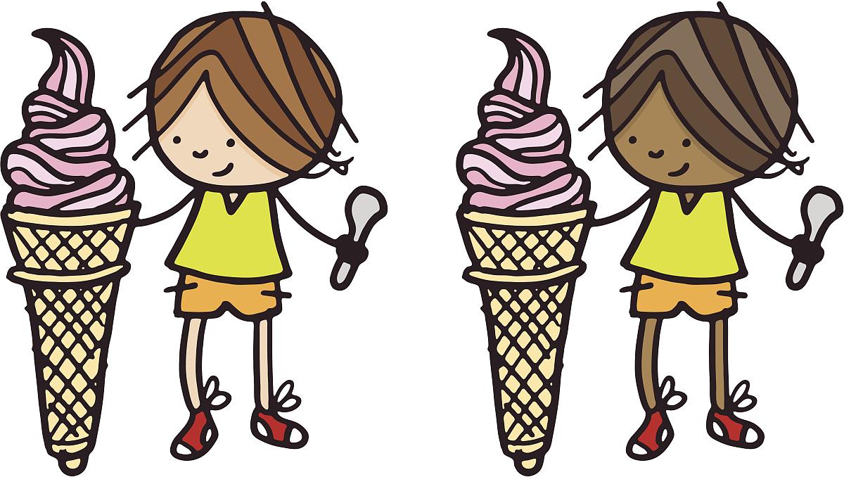 冰淇淋,过大的,少男,仅一个少男,矢量,仅青少年,暴饮暴食,挨着,非洲人图片