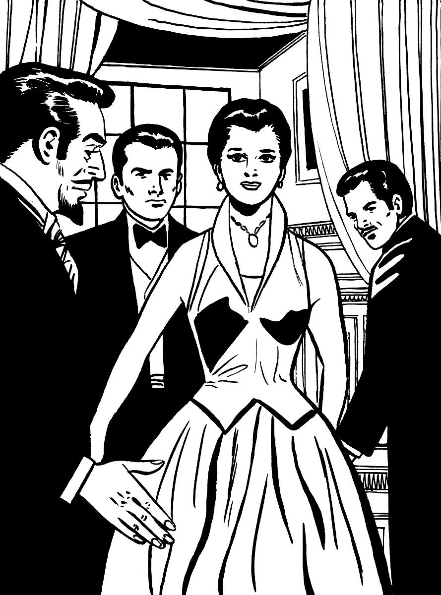 黑头发女人和三个男人图片