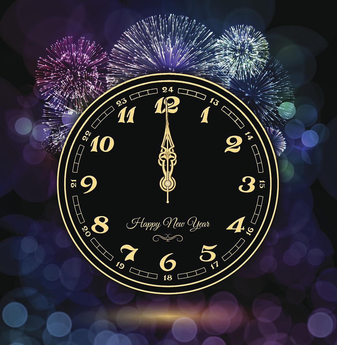 自然美,设备用品,2015年,钟,绘画插图,2017年,夜晚,元旦,文字,庆祝,放图片