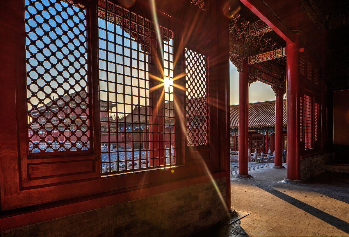 北京,宫殿,日落,日光,中国,故宫,室内,红色,建筑物门,柱子,窗户,历史图片