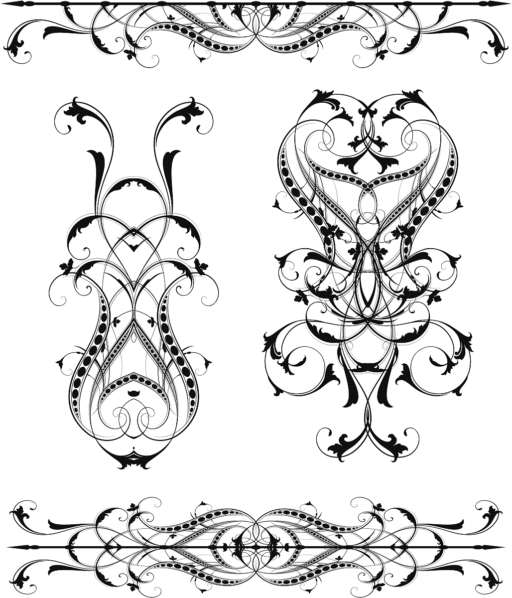 美,对称,华丽的,雕刻图像,花纹,矢量,阿拉伯风格,花形图案装饰,花体图片