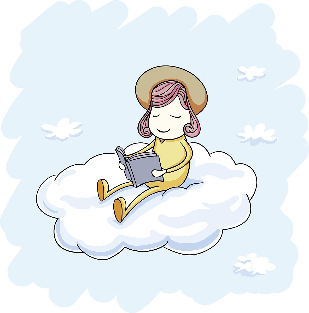 小女孩坐在云上看书图片