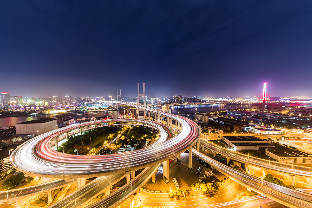 ��n;_上海南浦大桥高架道路建筑夜景china,shanghai\\nshanghai