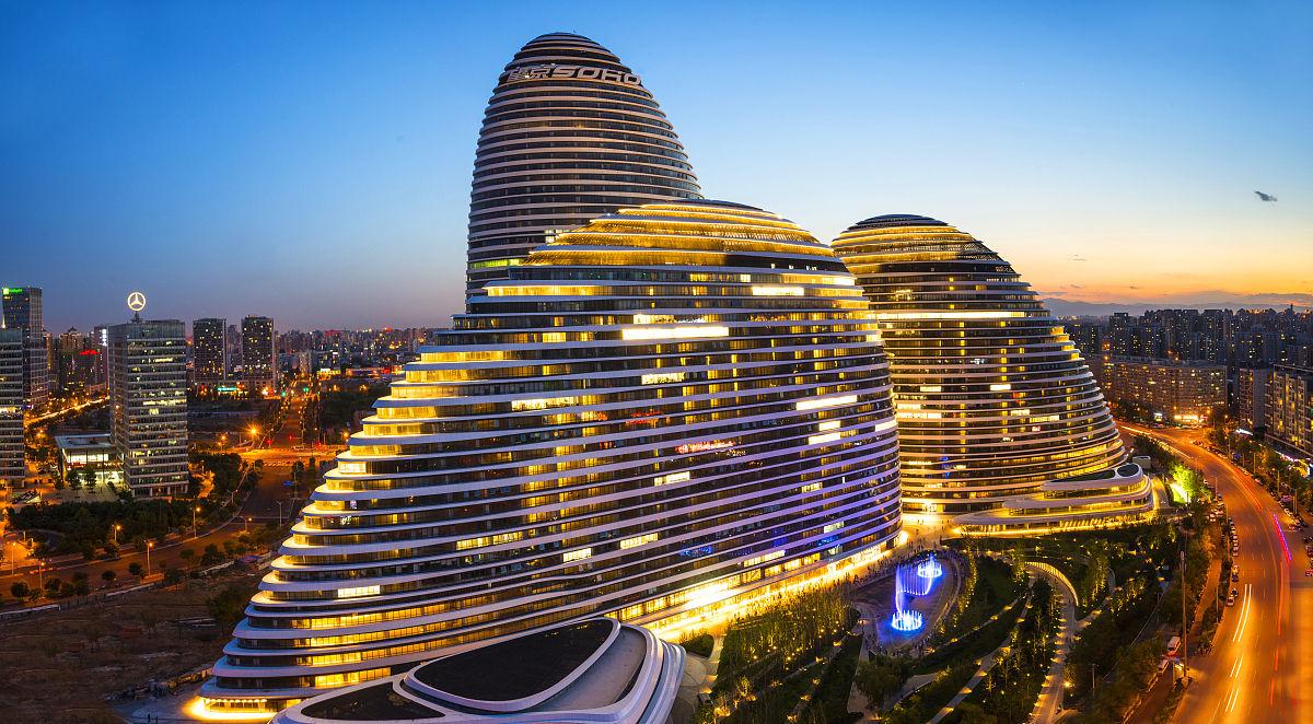 望京soho夜景n上海外滩城市建筑夜景chinashanghaiund