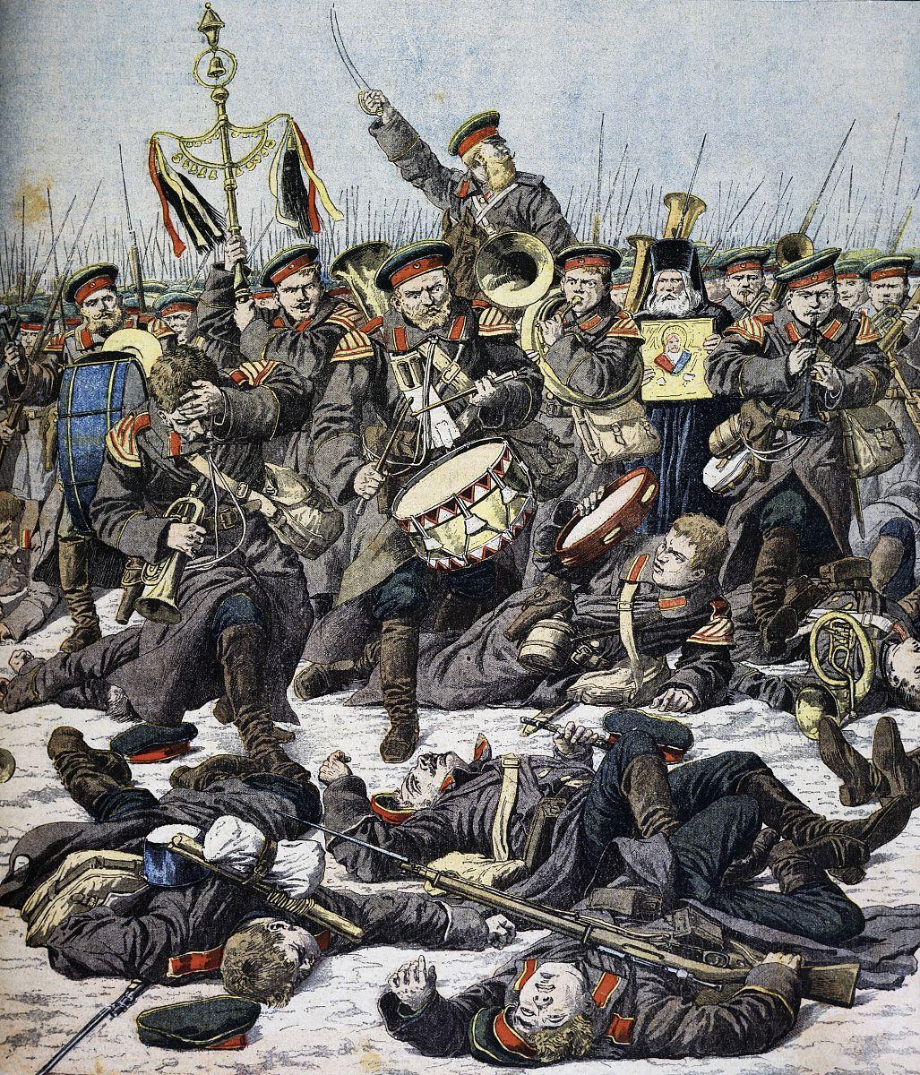俄罗斯军乐继续发挥战斗打响了ca的鸭绿江畔,从小报,1904插图,日俄图片