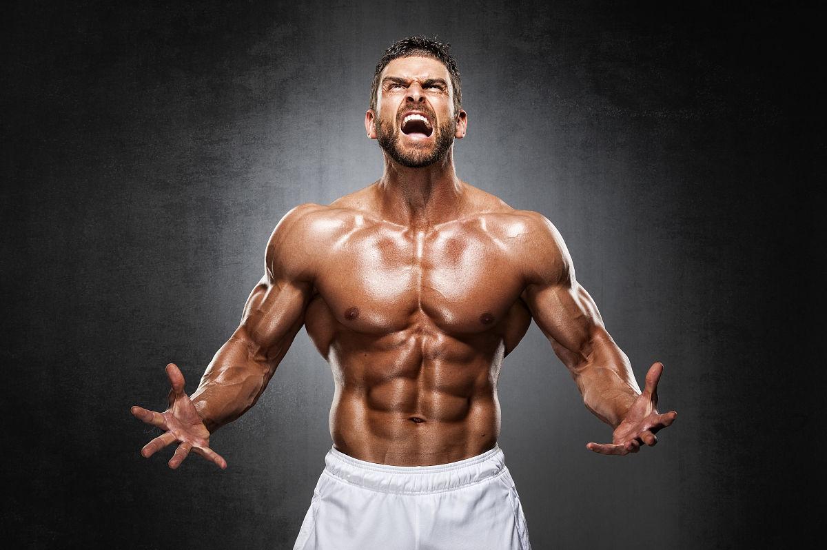 肌肉_力量,水平画幅,健美身材,大喊,鼓起肌肉,尖叫,摄影,腹肌,图像