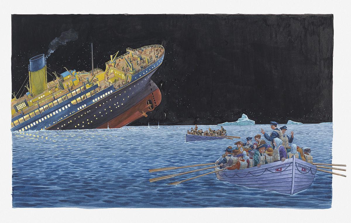 泰坦尼克号沉没的插图图片