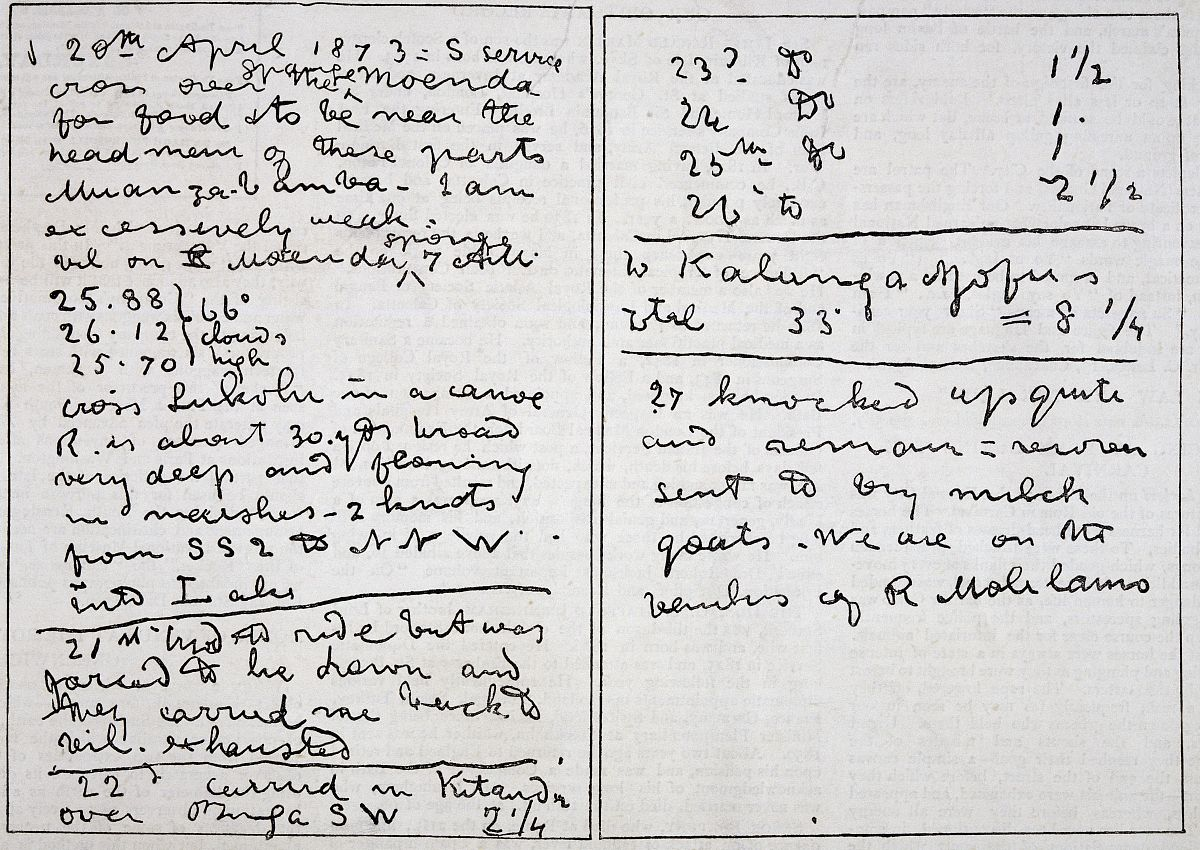 日记图_大卫·利文斯敦(1813-1873)的日记,日期4月20日至27日,1873页,他死在
