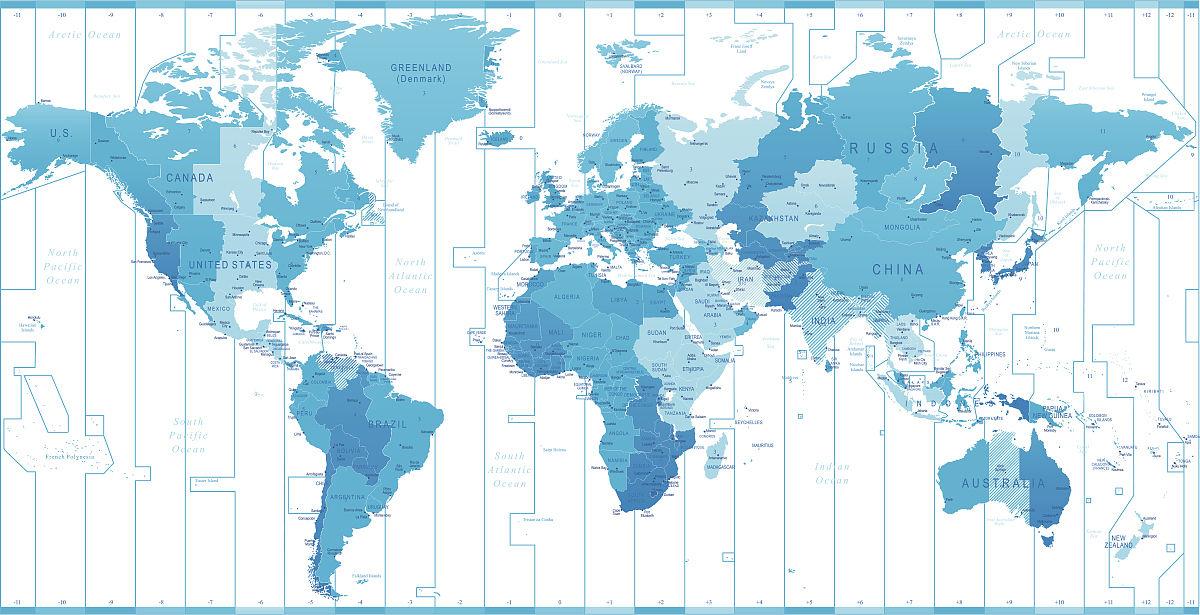 新西兰,矢量,信息媒体,陆地,导航装备,南美,德国,时区,蓝色,插画,地图图片