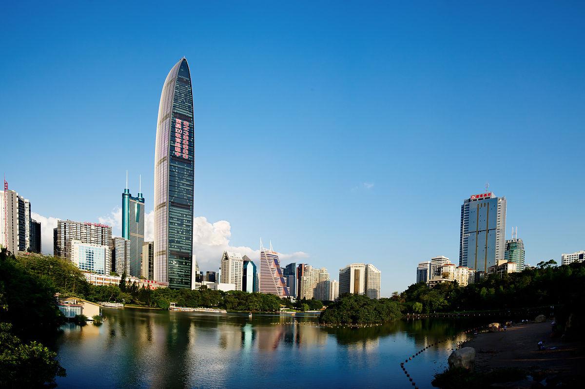 摄影彩色图片水平画幅平视角广东省深圳办公大楼摩天大楼住房