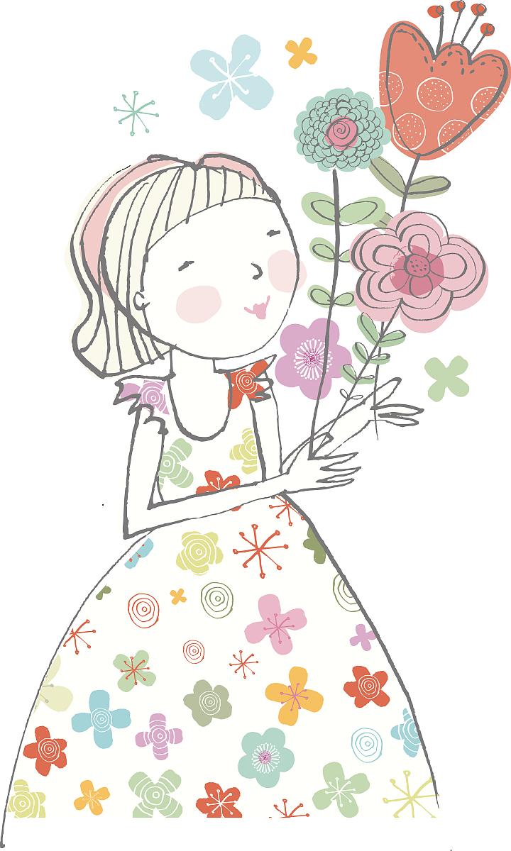 童年,一个人,儿童,插图画法,背景分离,彩色图片,绘画插图,花纹,女孩图片