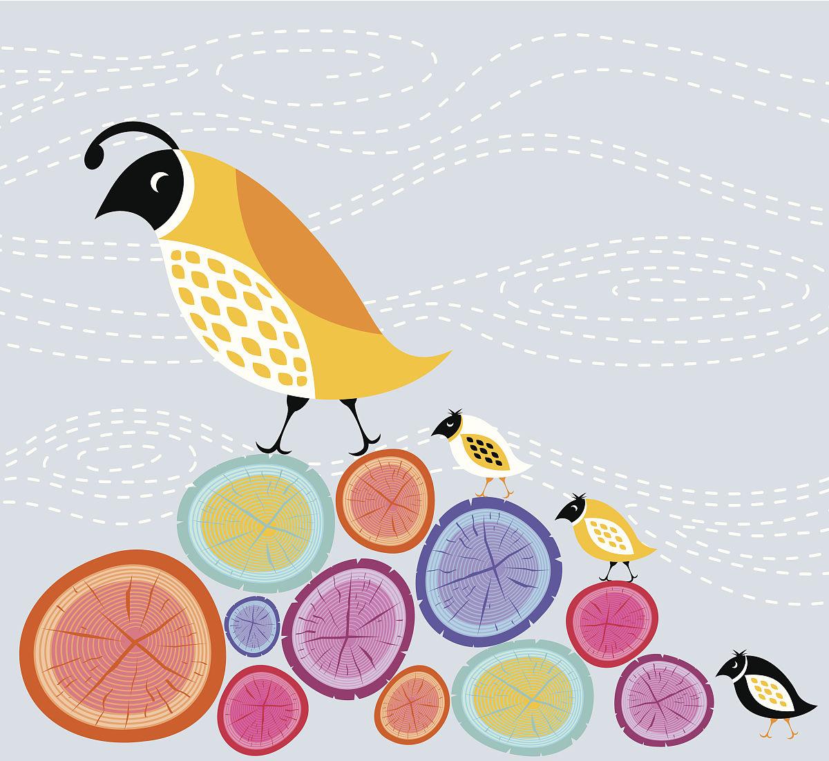鸟类,多色的,木制,叠,夏天,背景,计算机图形学,圆木,肖像,幼小动物图片
