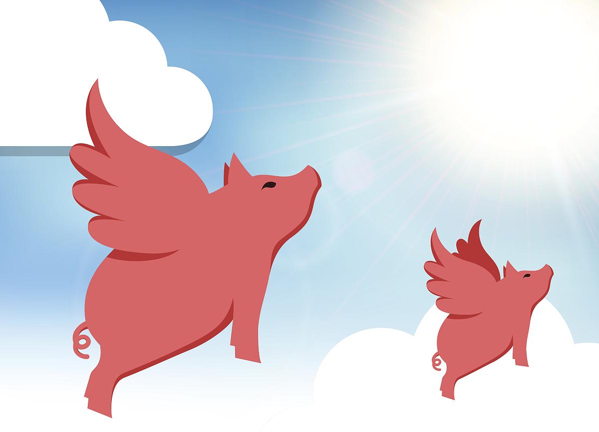 云景,几何形状,一个物体,翅膀,猪,图标,背景,夏天,绘画插图,天空图片