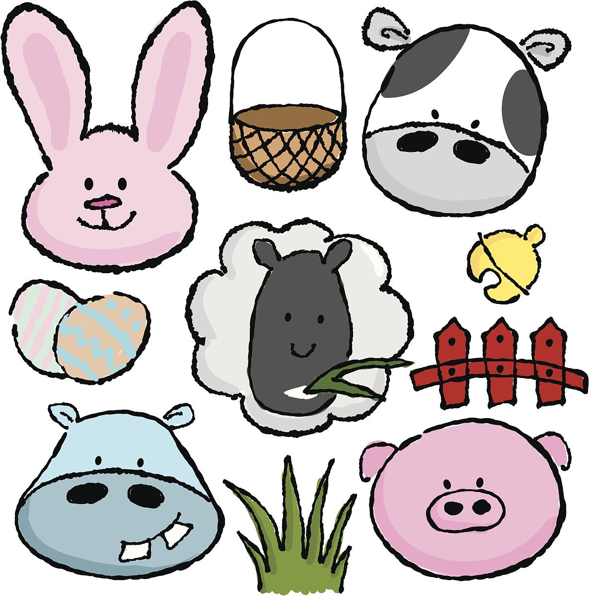 动物,新生动物,卵,铃,复活节,绵羊,猪,河马,计算机图标,计算机图形学图片