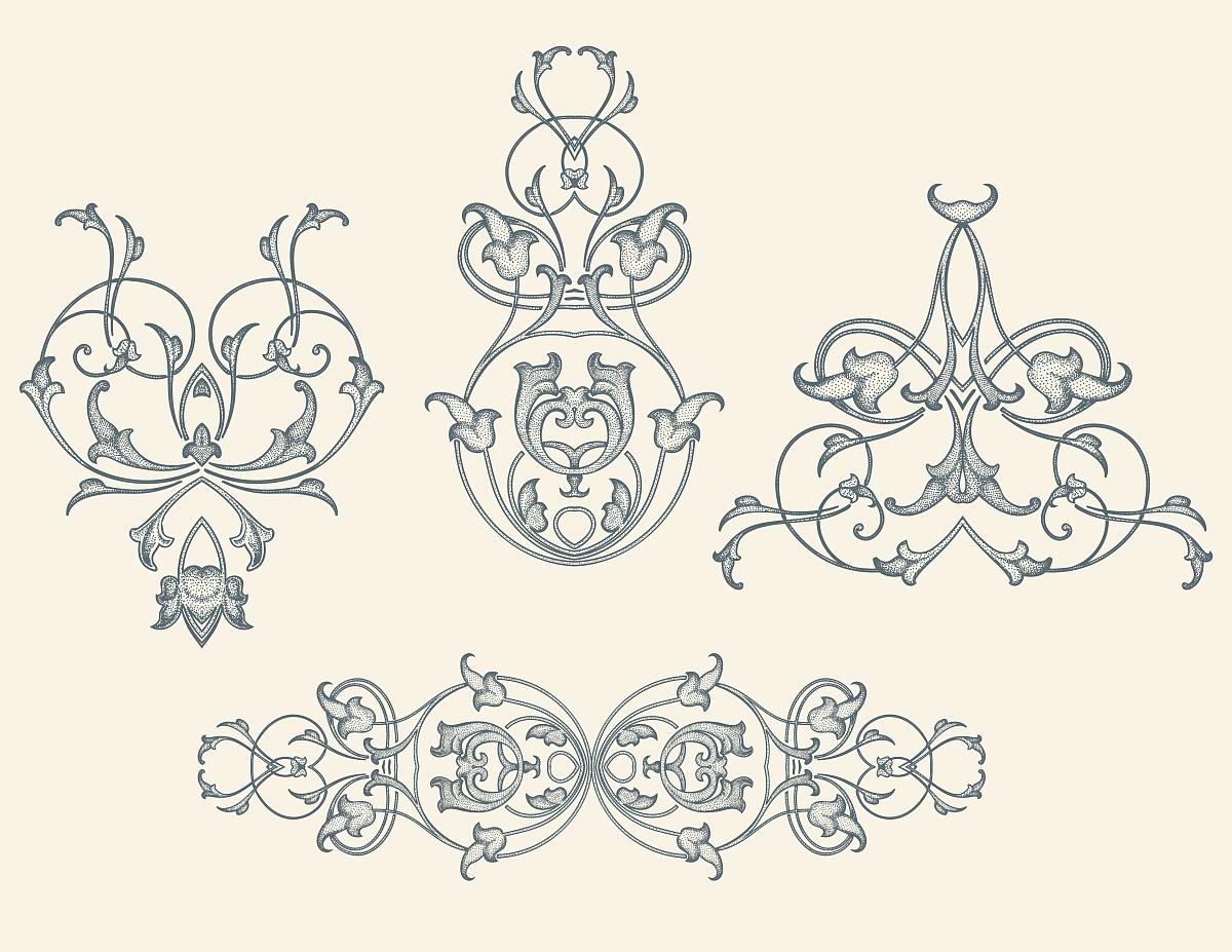 华丽的,缠绕,雕刻图像,古董,花纹,矢量,阿拉伯风格,装饰镜板,花体图片