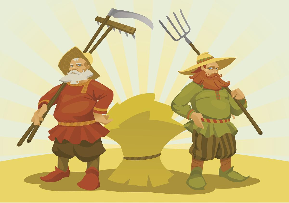 两个卡通农民图片