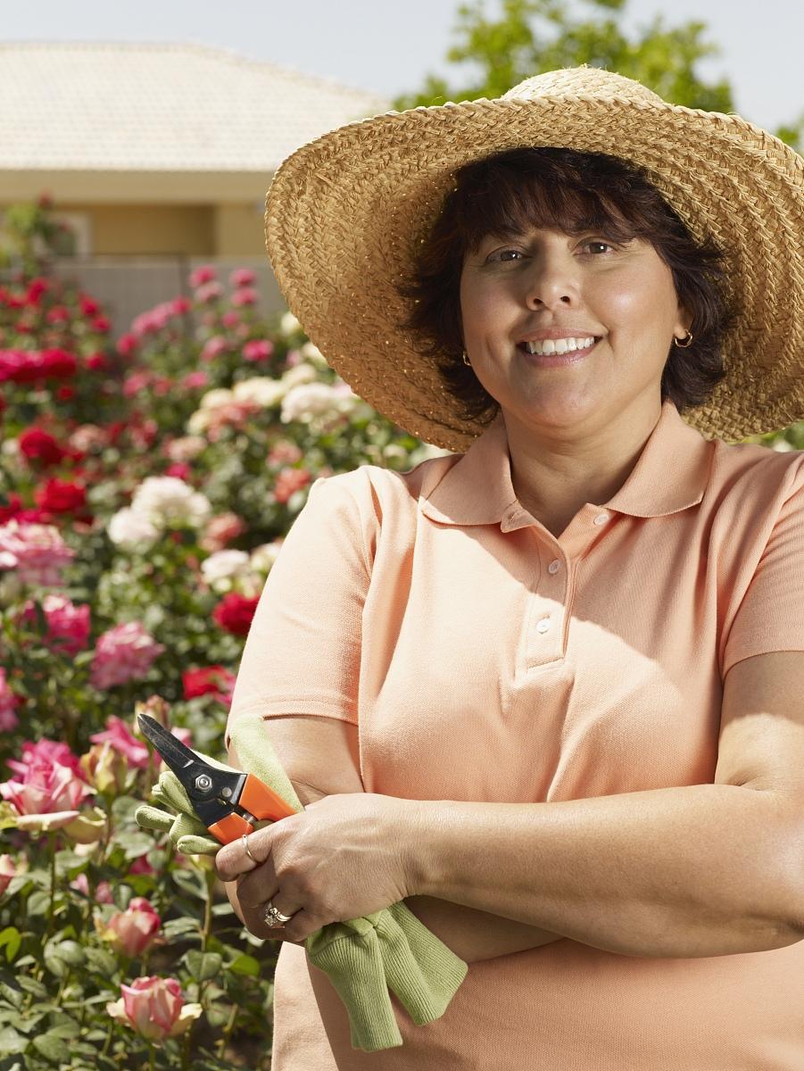 庭院,站,微笑,拿着,白昼,草帽,日光,一个人,中老年人,园艺,修剪,双臂图片