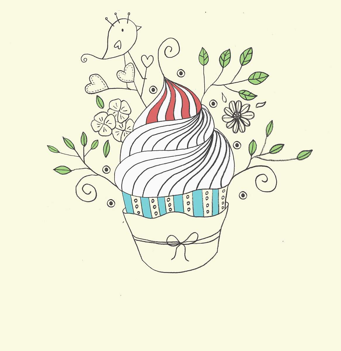 无人,冰淇淋,鸟类,叶子,草图,画画,图像图片